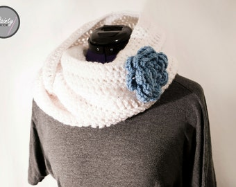 Long Infinity Scarf with Blue Flower, Fashion, White, Crochet, Stylish, Classy, Birthday Gift, The Dainty Hook