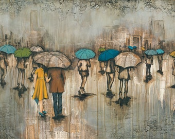 Couple Walking In The Rain CANVAS G'CLEE, titled Walking With Him, Umbrella Art Print