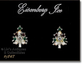 Eisenberg Ice Christmas Tree Earrings,Silver Tone Pierced Earrings,Eisenberg EarringsWith Red Green Clear Rhinestones and Faux Pearl (#J847)