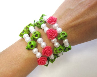 Day of the Dead Bracelet Sugar Skull Jewelry Wrap Cuff Green White Hot Pink Rose