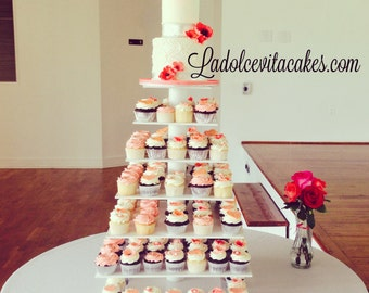 6 Tier Square Custom Made Cupcake Stand - Holds up to 148 Cupcakes.