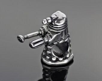Doctor Who Charm - Dalek Bead - Dalek Charm - Stainless Steel Bead - Fits European Charm Bracelets