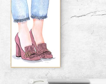 Gucci Marmont Shoe illustration poster pink - printable download