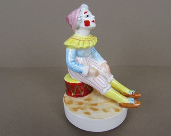 Vintage Porcelain CLOWN MUSIC BOX Figurine - 1979 A Company Of Friends Japan - I Could Have Danced All Night - Non Creepy Clown