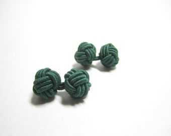 Chinese knot cufflinks in FOREST GREEN, dark green cuff links, green stretch cufflinks, groomsmen gift, Valentines gift, stocking stuffer,