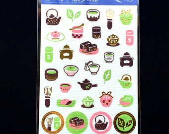Japanese Tea  Stickers - Japanese Washi Paper Stickers - Chiyogami Stickers - Wagashi Stickers - Japanese Food Stickers  (S102)