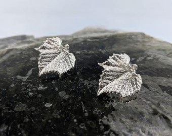 Silver Grape Leaf Stud Earrings - Great for Gift, Bridesmaid, or Your Beautiful Self!