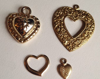 Wholesale Lot of Vintage Goldtone Heart Charms