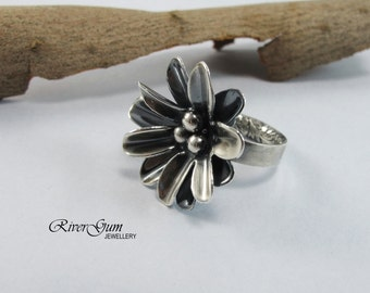 Sterling Silver Ring, Sterling Silver Flower Statement Ring, Silver Oxidized Ring, Size 6.5, Rings For Women