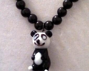 Beaded panda necklace