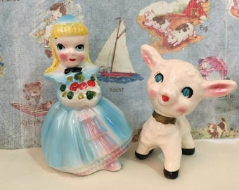 RARE Vintage Mary Had a Little Lamb Salt and Pepper Shakers Antique Collectibles or Cake Toppers