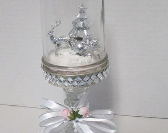 Whimsical mason jar silver Christmas tree scene with Santa in sleigh. ooak