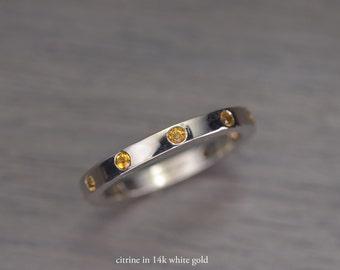 Citrine Eternity Band, 3mm band silver gold - Duke Ring III