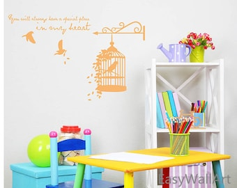 Bird Cage Wall Decal, Birdcage Decal with Birds and Love Quotes,  Bird Cage Wall Decor, Bird Cage Vinyl Wall Art Sticker  #M20