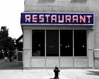 Seinfeld Diner, New York Photography, Large Wall Art, Monk's Diner, Gray, Blue, Red, Toms Restaurant, Seinfeld Art