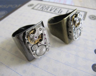 Steampunk Jewerly, Steampunk Ring, Steampunk Jewelry, Womens Ring, Ring, Steampunk Watch Part, Man, Men,  Rhinestones Graduation Gift,