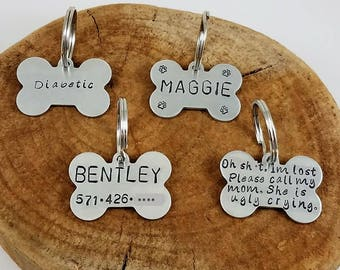Personalized Dog Tags; Aluminum; Pet Tags; Custom; Hand Stamped