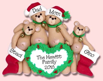 Belly Bear Family of 4 HANDMADE POLYMER CLAY Personalized Christmas Ornament