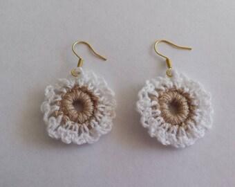Crocheted lacy golden earrings