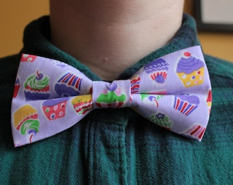 Purple Cupcakes Bowtie / Bow tie - kitsch, fun, mauve, baker, bakery, cookery, chef, bake off, baking