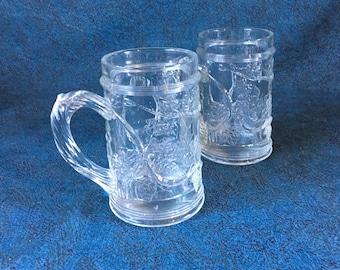 Vintage Embossed Grapevine Beer Steins, Set of 2