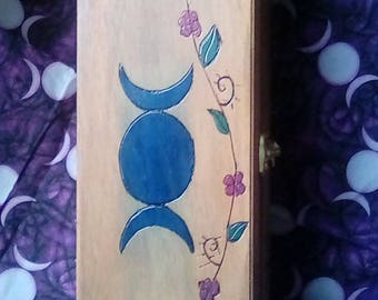 Witch starter kit wiccan herbs alter supplies triple moon goddess wood burning intention kit pagan wicca witchy gifts for her crystals