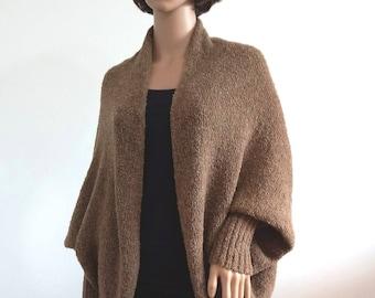 Cocoon cardigan brown Batwing long sleeves Cozy Knit loose coat cardigan oversized shrug for women Boho Sweater Cocoon coat wrap jacket Wool