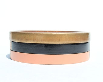 Adele Skinny Bangle Set/ Wood Bracelet Trio/ Stacked Bangles/ Painted/ Pastel/ Gold/ Bands of Color/ xs-xl