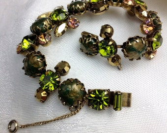 Signed Regency Textured Glass & Rhinestone Bracelet
