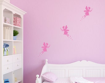 Set of Fairies Vinyl Wall Sticker Fairy Decal Girls Bedroom Fairies and Stars Wall Art