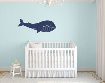 Blue Whale Wall Decal, Sea Ocean Decals, Ocean Nursery Decor, Blue Whale Wall Art, Whale Vinyl Decal, Kids Wall Decals, Sea Ocean Friends