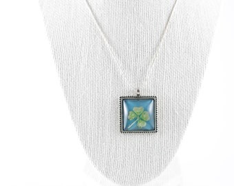 Real Four Leaf Clover Square Necklace - 4 Leaf Clover Good Luck Lucky Irish Shamrock