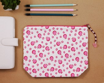 Pencil case, fabric pencil pouch, pink and white zip pouch, make up bag with charm
