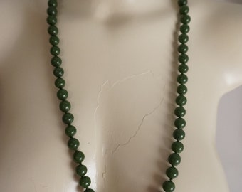 Antique Chinese Jade Peking Glass Bead Necklace Hand Knotted