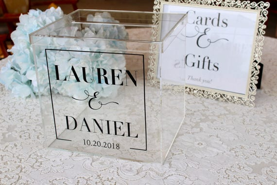 Personalized Wedding Card Box I Acrylic Card Box I Wedding