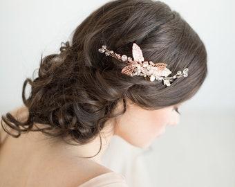 Rose Gold Bridal Comb, Wedding Hair Comb, Pearl and Crystal Comb,  Gold Leaf Comb, Gold Bridal Comb, Wedding Headpiece