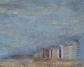 Beach Huts, Original Acrylic Collage Painting