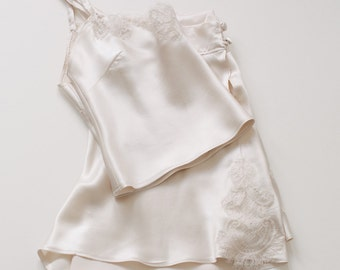 Lucille silk crop camisole and french knicker set