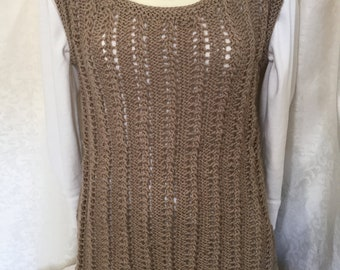 Sweater top, Hand knit sleeveless top, Knit tunic, lacy tan shirt, stretchy knit tank, hand knit item, crochet items