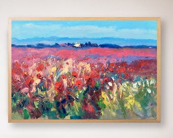 Landscape Painting On Canvas Poppies Art Tuscan Wall Art Large Country  Artwork For Living Room Country