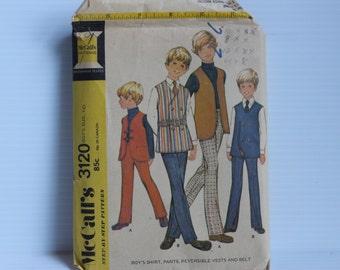 McCall's BOYS PATTERN 3120, Vintage Shirt pattern, pants pattern, Reversible Vest Pattern, Vintage boy's pattern, Boys size 8, Boys size 10