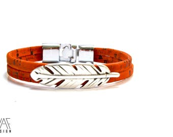 Feather bracelet orange Cork, stainless steel clasp