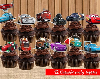 DIGITAL Cars Disney personalized Toppers| Cars Disney Birthday Party| Cars Disney Toppers|Cars Disney Birthday Party Printable