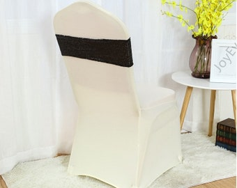 Black Glitter Sequin Chair Bands Chair Sashes Chair Bow Ribbon Wedding Engagement Birthday Anniversary Party Reception Bouquet Decoration