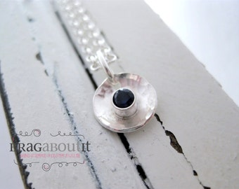 Simple Dot Necklace . Hammered Dot Necklace . Birthstone Necklace . Sterling Silver Necklace . Simple Necklace . Brag About It