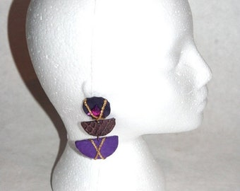 Moving Sale Rad 80's Hand Made Purple Suede, Croc, Gold Cord, & Jewel Earrings