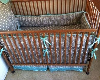 Gray polka dot baby bedding, gray arrows baby bedding, gray and baby blue baby bedding set.