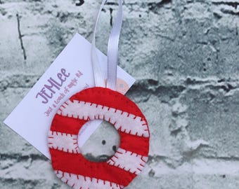 Christmas, Felt Tree Ornaments Candycane Wreaths