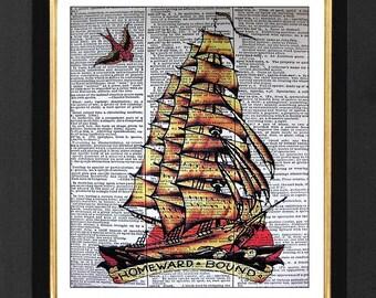 "Sailor Jerry ""Homeward Bound""- Bar Art, Bar Decor- Mixed Media art print on 8x10 Vintage Dictionary page, Dictionary art, Dictionary print"