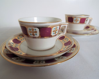 Pair Of Victorian Teacup and Saucer And Cake Plate Sets, With Gothic Purple And Gold Pattern. Antique Tea Cup Trios. Perfect For Tea For Two